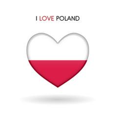 love poland symbol flag heart glossy icon vector image