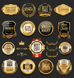 luxury retro badges gold and silver collection 2 vector image vector image