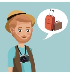 Man bearded hat camera suitcase vector