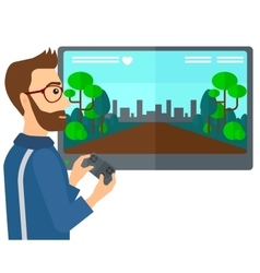 Man playing video game vector image