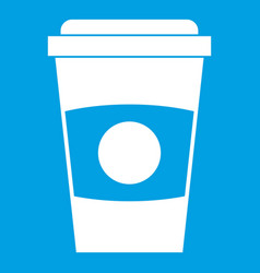 Paper coffee cup icon white vector
