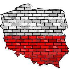 Poland map on a brick wall vector
