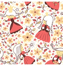 princess floral seamless pattern vector image vector image
