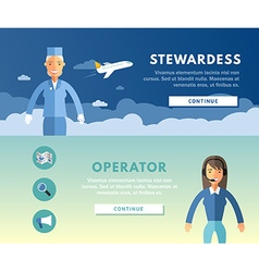 Profession concept stewardess and operator flat vector