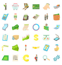profit icons set cartoon style vector image vector image