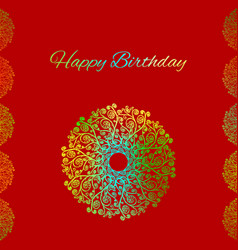 Red greeting card template happy birthday vector