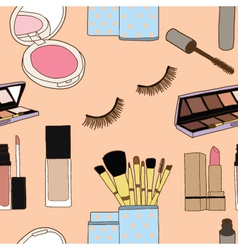 Seamless of makeup brushes in cup and cosmetics vector image vector image