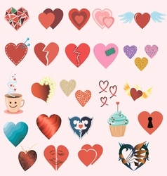 Set of twenty four different colorful hearts vector image