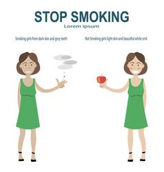 Smoking and non smoking girl vector