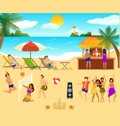 tropical beach elements set vector image