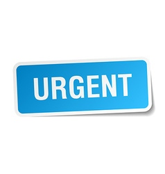 Urgent blue square sticker isolated on white vector