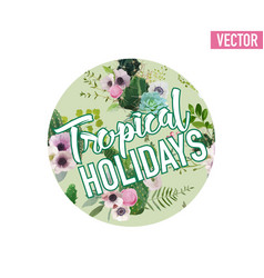 Vintage tropical summer cactus graphic design vector
