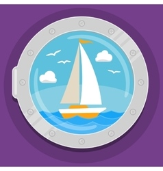 Yacht sailboat flat color icon vector