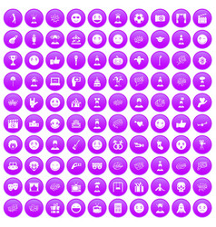 100 emotion icons set purple vector