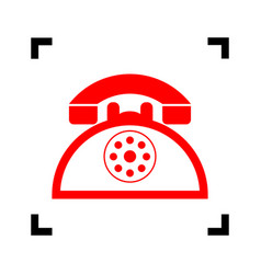Retro telephone sign  red icon inside vector