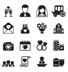 wedding icons set vector image