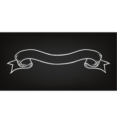 Hand drawn ribbon on the blackboard vector
