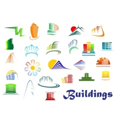Office and apartments buildings icons vector