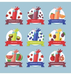 Fruit smoothie collection juices and beverages vector