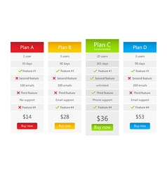 Light pricing table with 4 plans vector