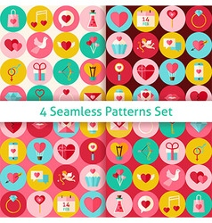 Four flat happy valentine day seamless patterns vector