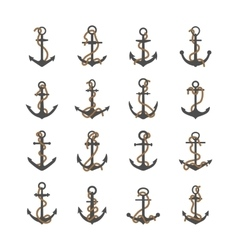 Gray silhouettes of anchor with rope vector