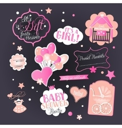 Baby girl shower set with greeting design vector