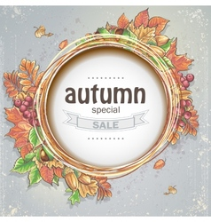 Background for big autumn sale with the image of vector