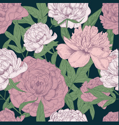 beautiful floral seamless pattern with pink vector image vector image
