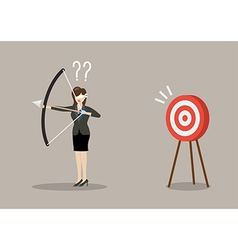 Blindfold business woman look for target in wrong vector