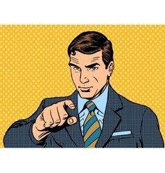 Businessman pointing finger chose you vector