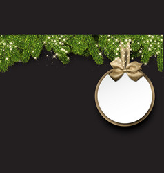 christmas round background with spruce branches vector image vector image