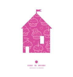 Colorful cupcake party house silhouette pattern vector