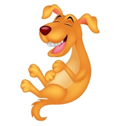 Cute dog cartoon laughing vector