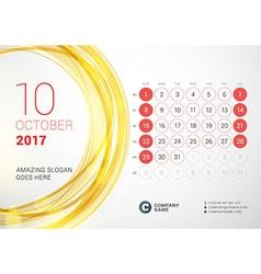 Desk Calendar for 2017 Year October Week Starts vector image