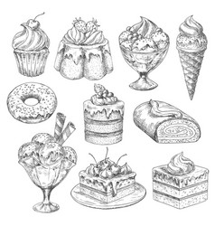 Desserts and cakes for bakery sketch icons vector