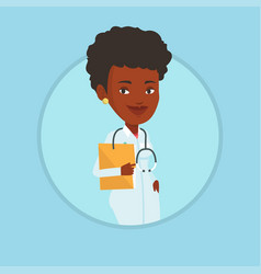 doctor with file in medical office vector image