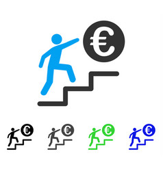 Euro business steps flat icon vector