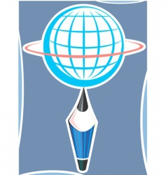 globe and pencil vector image vector image