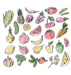 hand drawn fruits and vegetables vector image