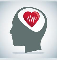 human head brain heartbeat care vector image