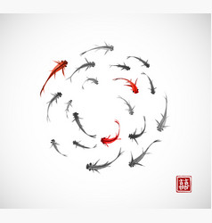 little black and red fishes in circle on white vector image vector image