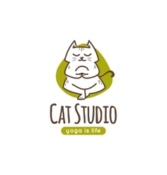 logo with cute cartoon cat standing in yoga vector image