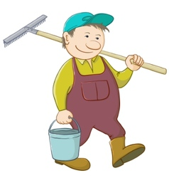 man with bucket and rake vector image vector image