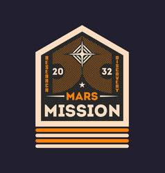 Martian mission vintage isolated label vector