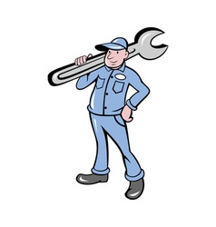 Mechanic with spanner wrench standing vector