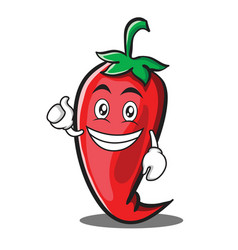 Optimistic red chili character cartoon vector