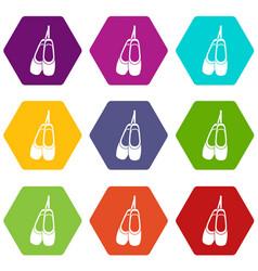 Pointe shoes icon set color hexahedron vector