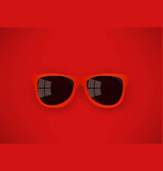Red sunglasses on red background vector