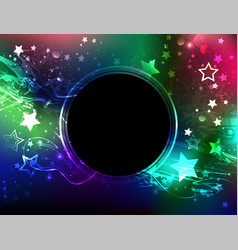 Round banner with northern lights vector